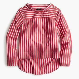 J. Crew Funnel Neck Striped Shirt Red